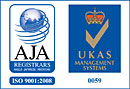 logo : ISO 9001:2008 - Anglo Japanese American Registrars - UKAS Management Systems
